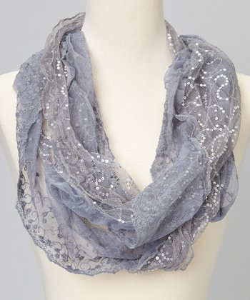 Gray Sequin Lace Scarf