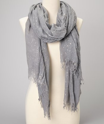 Gray Metallic Shawl Scarf