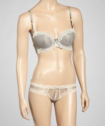 5th Avenue Intimates Gray Dotted Lace Plunge Bra & Bikini Briefs - Women