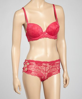Fuchsia Allover Lace Bra & Bikini Briefs - Women
