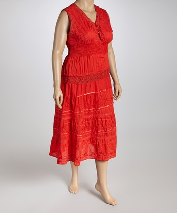 Red V-Neck Dress - Plus