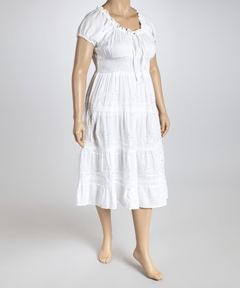 White Peasant Dress - Plus