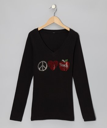 Black 'Peace, Love, Teach' Long-Sleeve Tee - Women & Plus