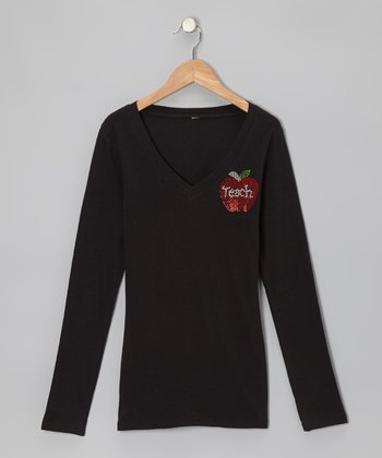 Black 'Teach' Apple Long-Sleeve Tee - Women & Plus