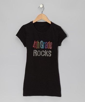 Black '4th Grade Rocks' Short-Sleeve Tee - Women & Plus