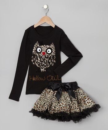 Black & Brown 'Hellow Owl' Tee & Pettiskirt - Toddler & Girls