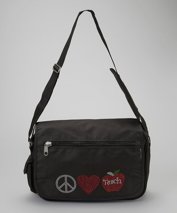 Black 'Peace, Love, Teach' Messenger Bag - Women