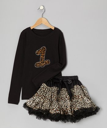 Black '1' Tee & Leopard Pettiskirt - Infant & Toddler