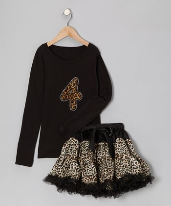 Black '4' Tee & Leopard Pettiskirt - Girls