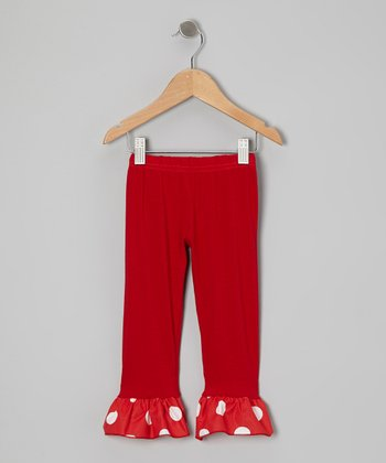 Red Couture Polka Dot Ruffle Leggings - Toddler & Girls