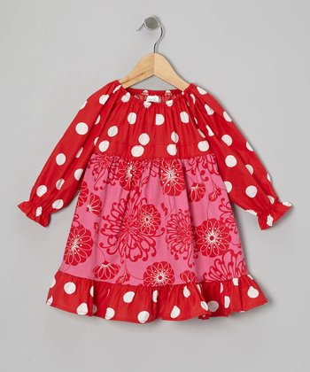 Red Couture Polka Dot Pattycake Dress - Toddler & Girls