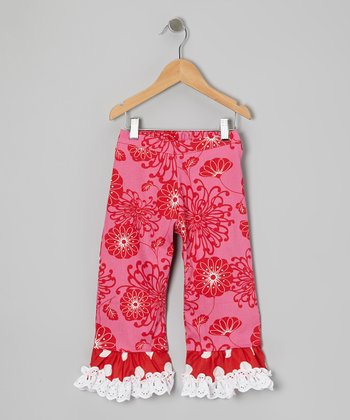 Hot Pink Floral Ruffle Pants - Infant, Toddler & Girls