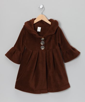 Brown Roses Dress Coat - Toddler & Girls