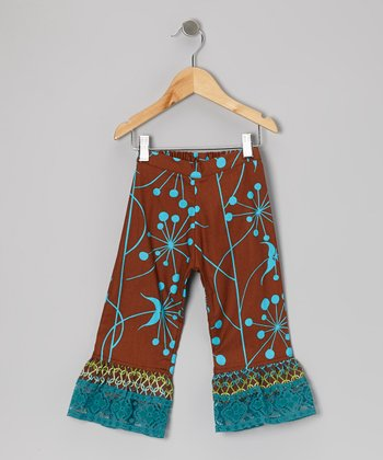Brown Floral Ruffle Pants - Infant, Toddler & Girls
