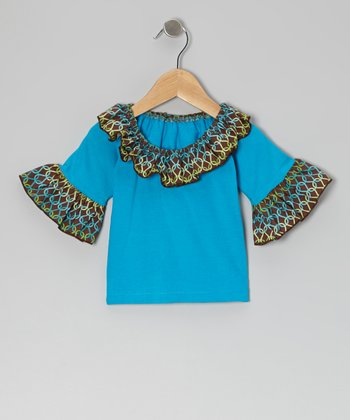 Teal Scroll Ruffle Top - Infant, Toddler & Girls