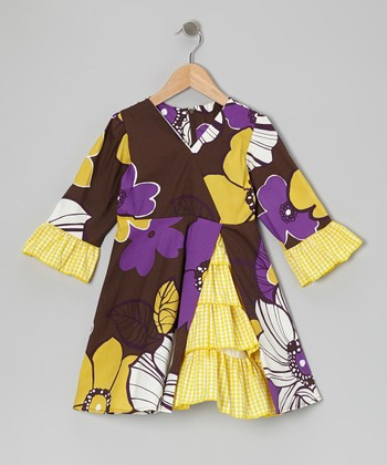 Purple Mums Vintage Ruffle Dress - Toddler & Girls
