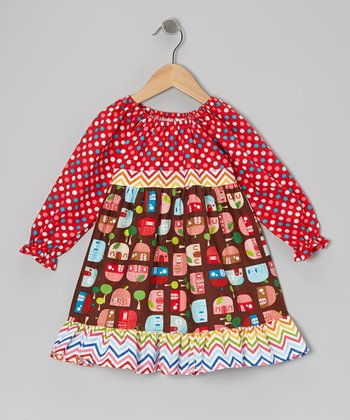 Red Appleville Pattycake Dress - Toddler & Girls