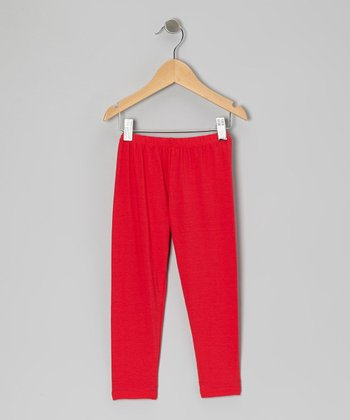 Red Appleville Leggings - Toddler & Girls