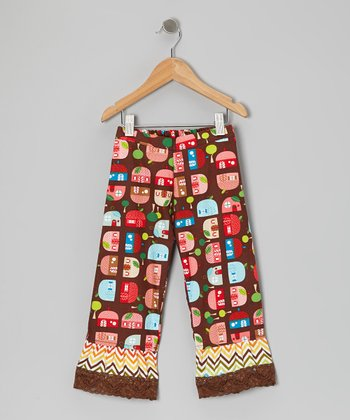 Brown Appleville Ruffle Pants - Infant, Toddler & Girls