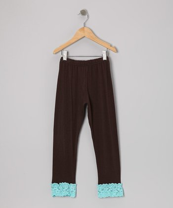 Brown & Blue Lace Ruffle Leggings - Toddler & Girls