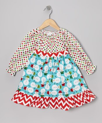 Red Snowmen Pattycake Dress - Toddler & Girls