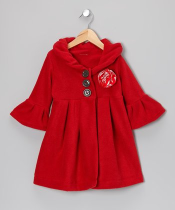 Red Flower Dress Coat - Toddler & Girls