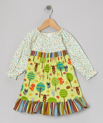 Green Forest Friends Pattycake Dress - Toddler & Girls