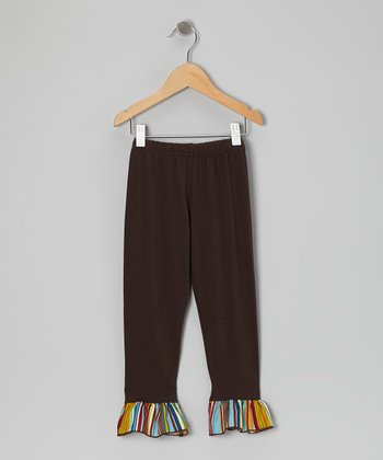 Brown Stripe Ruffle Leggings - Toddler & Girls