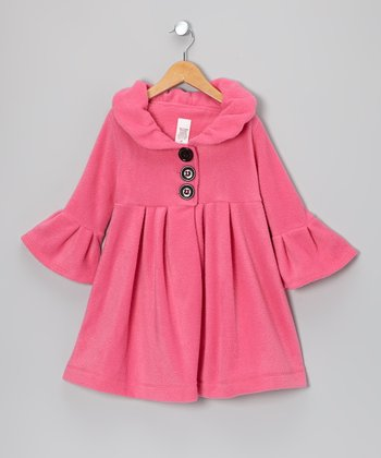 Hot Pink Plaid Dress Coat - Toddler & Girls