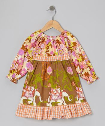 Brown Elephants Pattycake Dress - Toddler & Girls