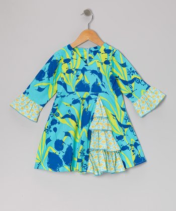 Turquoise Bird Vintage Ruffle Dress - Toddler & Girls
