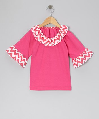 Pink Zigzag Ruffle Top - Infant, Toddler & Girls
