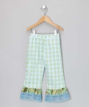 Light Blue Damask Ruffle Pants - Infant, Toddler & Girls