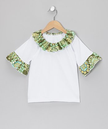 White Flower Ruffle Top - Infant, Toddler & Girls