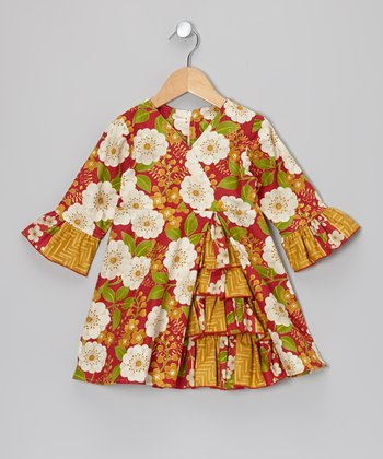 Red Garden Vintage Ruffle Dress - Toddler & Girls