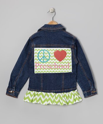 Green Peace Love Preschool Ruffle Denim Jacket - Toddler & Girls