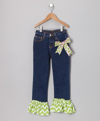 Green Peace Love Ruffle Denim Jeans - Toddler & Girls