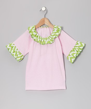Pink & Green Peace Love Ruffle Top - Toddler & Girls