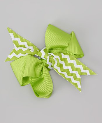 Green Zigzag Peace, Love Bow Clip