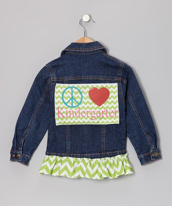 Green Peace Love Kindergarten Ruffle Denim Jacket - Girls