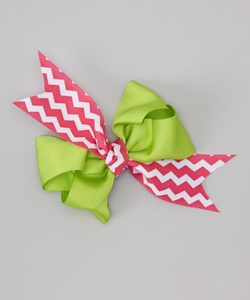 Red & Green Zigzag Peace, Love Bow Clip