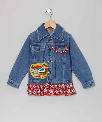 Orange Fall Western Bird Ruffle Denim Jacket - Toddler & Girls