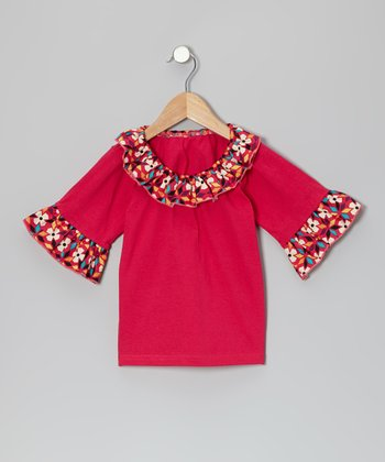 Red Fall Western Bird Ruffle Top - Toddler & Girls