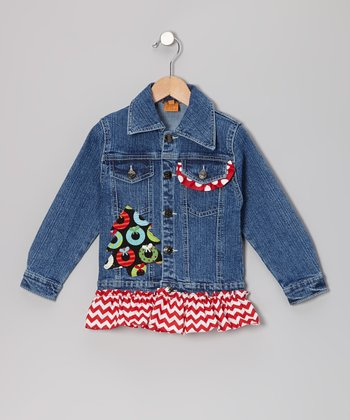 Red Xmas Tree Wreaths Ruffle Denim Jacket - Toddler & Girls