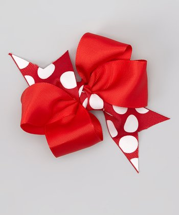 Red Polka Dot Xmas Tree Wreaths Bow Clip