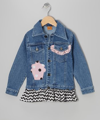 Black Cupcake Party Ruffle Denim Jacket - Toddler & Girls