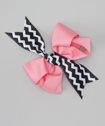 Pink & Black Cupcake Party Bow Clip