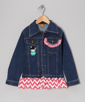 Pink Flower Dolls Ruffle Denim Jacket - Toddler & Girls