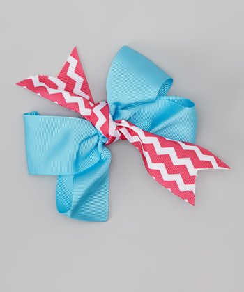 Blue & Pink Zigzag Flower Dolls Bow Clip