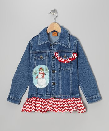 Red Winter Snowman Ruffle Denim Jacket - Toddler & Girls